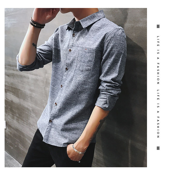 2019 spring new men's shirt Korean version of the self-cultivation youth casual business cotton shirt tide men's boutique shirt 27