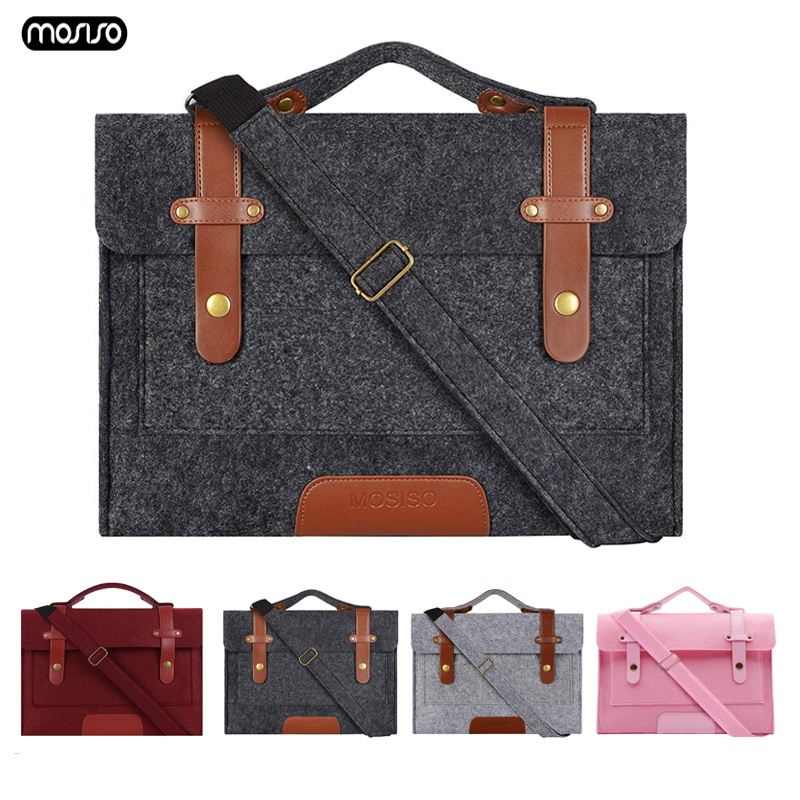 MOSISO 13.3 14 15 15.6 inch Felt Laptop Bag Case for Macbook Asus Dell HP Women Notebook Messenger Shoulder Handbag Briefcase Me-in Laptop Bags & Cases from Computer & Office