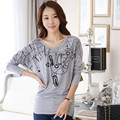 New Arrive South Korean Version Bat Sleeve T-shirt O-neck Loose T-shirt