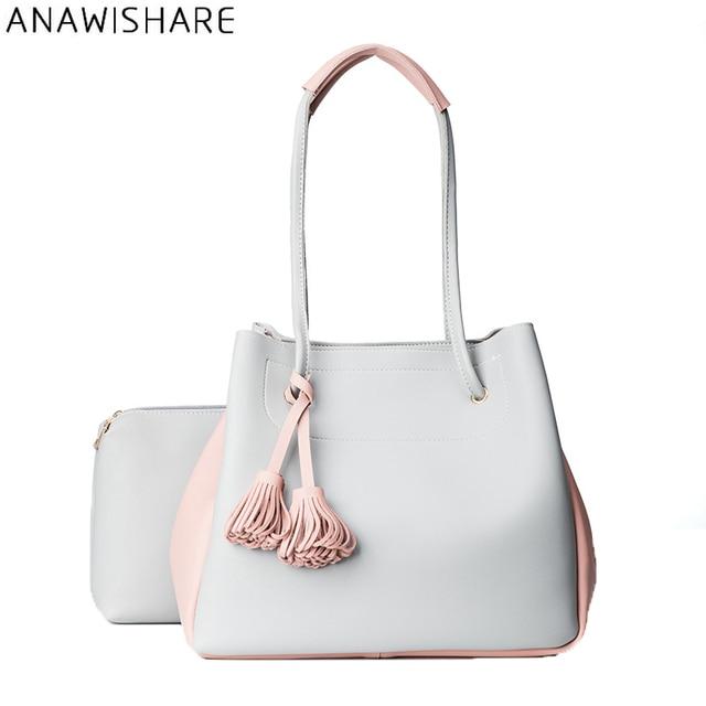 ANAWISHARE Women Leather Handbags Tassel Bucket Shoulder Bags Ladies  Designer Tote Bag Composite Bolsa Feminina Bolsos 57856f099c