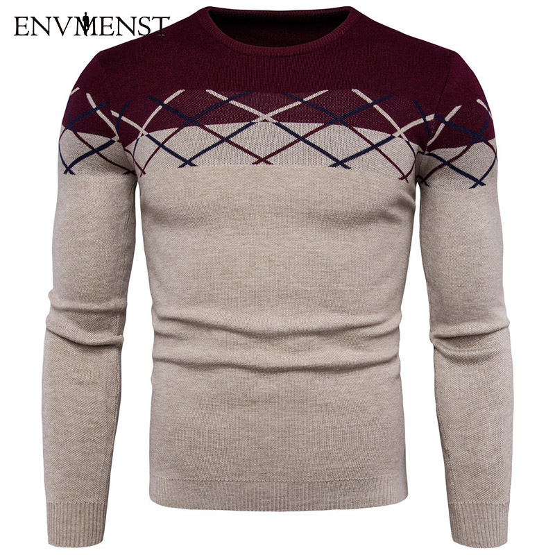 Envmenst 2017 Fashion Male Fight Color Knitted Pullovers Sweaters New Man O-neck Leisure Pullover Sweater