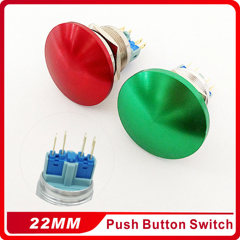 22mm Metal Aluminum Self-locking Switch Push Button Mushroom Emergency Stop Push Button Waterproof Switch momentary 1NO 1NC 19mm metal waterproof aluminum push button switch mushroom emergency stop button press button 19mgjt stop l s kb