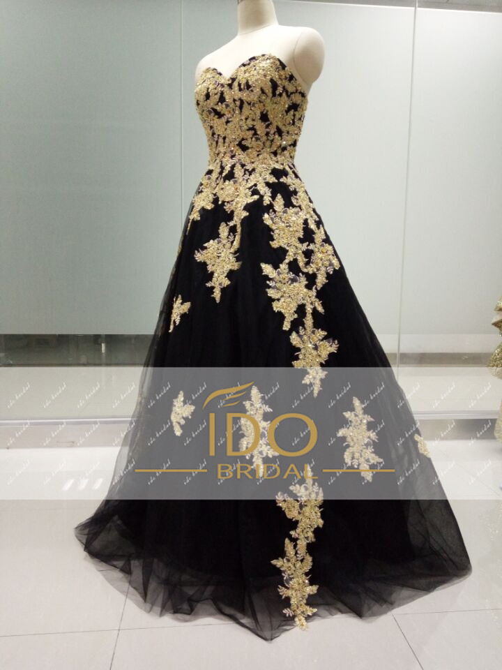 Black Gold Lace Formal Evening Gowns Luxury off Shoulder Women Long ...