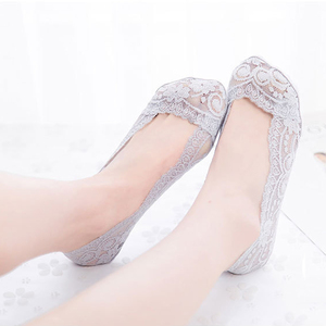 Image 4 - 3Pair Sexy Lace Socks Short Socks Women Summer Thin No Show Women Sock Slippers Casual Thin 3D Art Boat Socks Invisible Meias