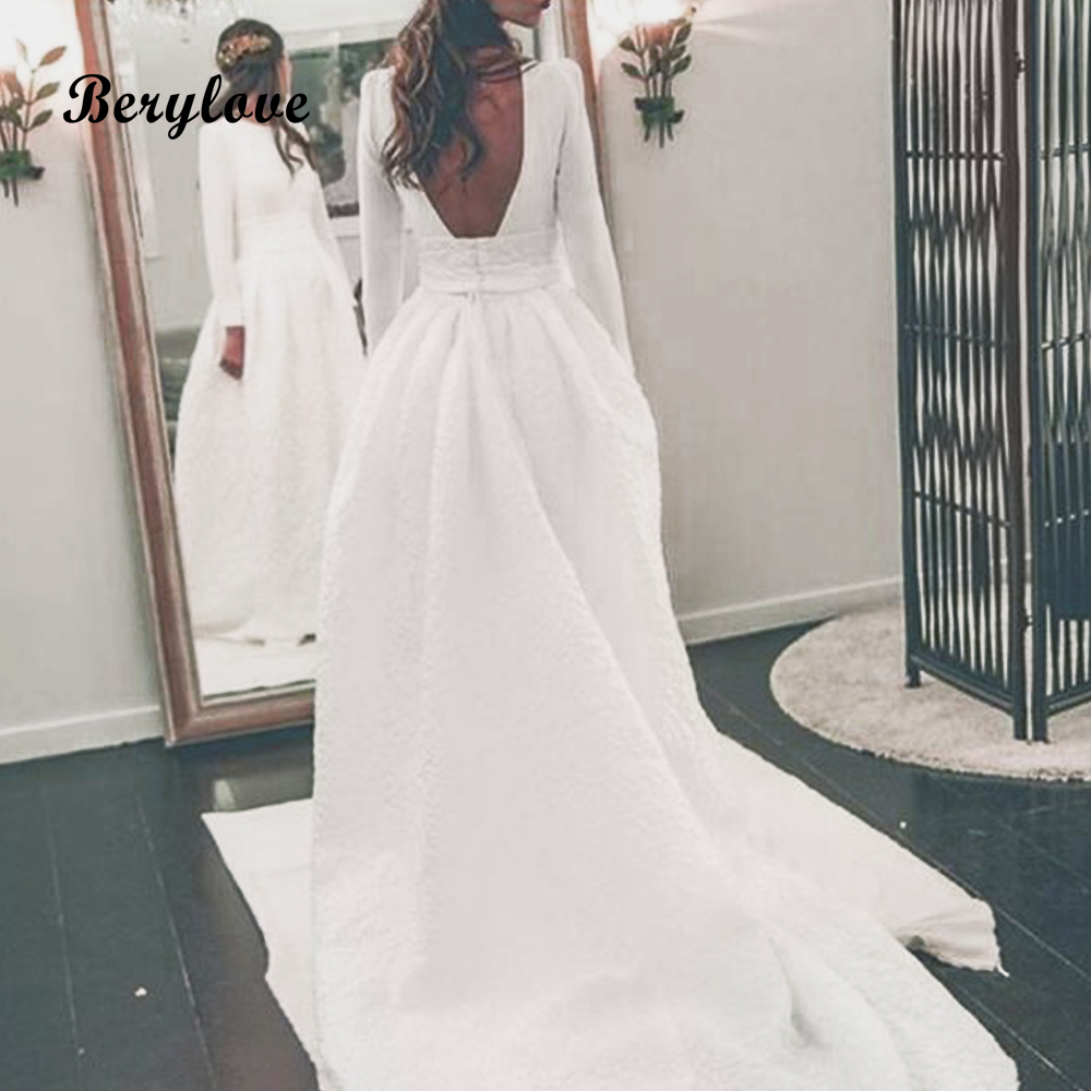 Wedding Gown Patterns With Sleeves: BeryLove Simple Long Sleeves Wedding Dresses 2019 Pattern