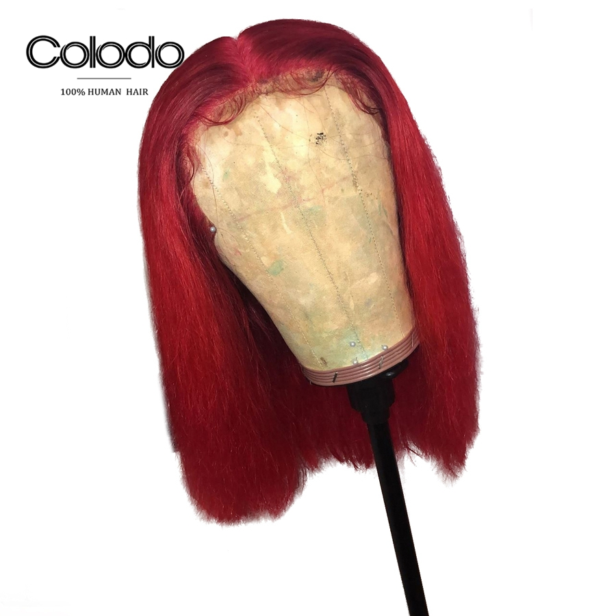 COLODO Dark Blue Human Hair Wig Red Colored Bob Lace Front Wigs Pre Plucked Remy Hair Short Brazilian Lace Wig For Black Women