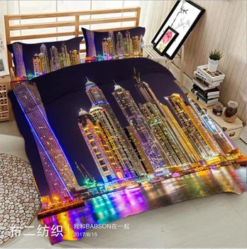 City lights 3D printed Bedding sets Double King Queen Twin size Bed set Soft Bedclothes 4pcs Bed sheet Duvet cover home textile