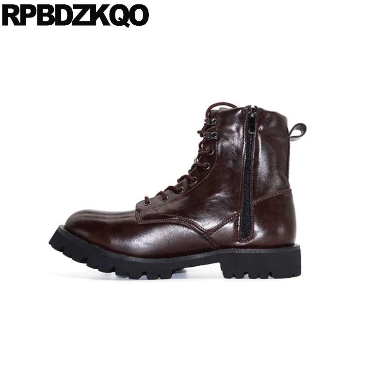 € 69.87 36% de DESCUENTO|Zapatos de diseñador de alta calidad con cordones botas militares con cremallera tobillo impermeable 2018 tamaño grande