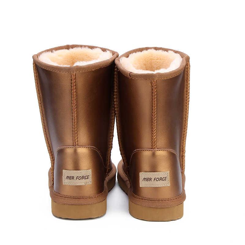 Botas de nieve de piel de vaca de cuero genuino de alta calidad para mujeres de la fuerza de Australia