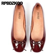 Arco Sapatos Rasos Para Mulheres Com Gatinho Fofo Balé Couro De Patente Estampa Leopardo Listrado 5 Couro Legítimo Vinho Tinto Bailarina Luxo Belo Outono Primavera Europeu Transporte Gota Moda Mais Recente
