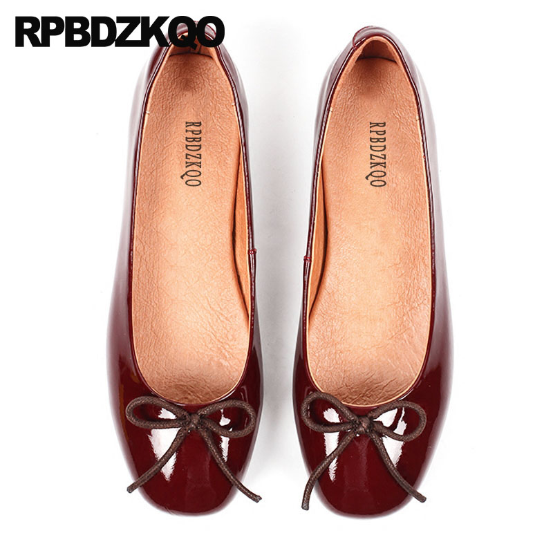 все цены на Bow Women Flats Shoes With Little Cute Bowtie Ballet Patent Leather Leopard Print Striped 5 Genuine Red Wine Ballerina Luxury