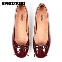 Bow Women Flats Shoes With Little Cute Bowtie Ballet Patent Leather Leopard Print Striped 5 Genuine Red Wine Ballerina Luxury
