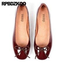 Łuk kobiety mieszkania buty z małą śliczna muszka balet lakierki wzór w cętki paski 5 oryginalne czerwone wino baleriny luksusowe
