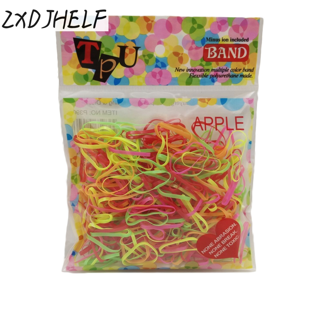 ZXDJHELF 300pcs Girls Rubber Rope Ponytail Holder Headwear Elastic Hair Bands Ties Braids Plaits Headband Hair Accessories F031