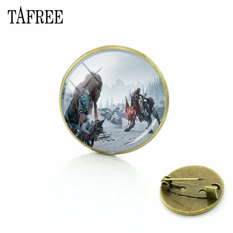 TAFREE Hot Game Horizon Zero Dawn Brooches Round Glass Cabochon Picture Dome Gem Badge Boys Girls Bronze Plated Jewelry HZD35