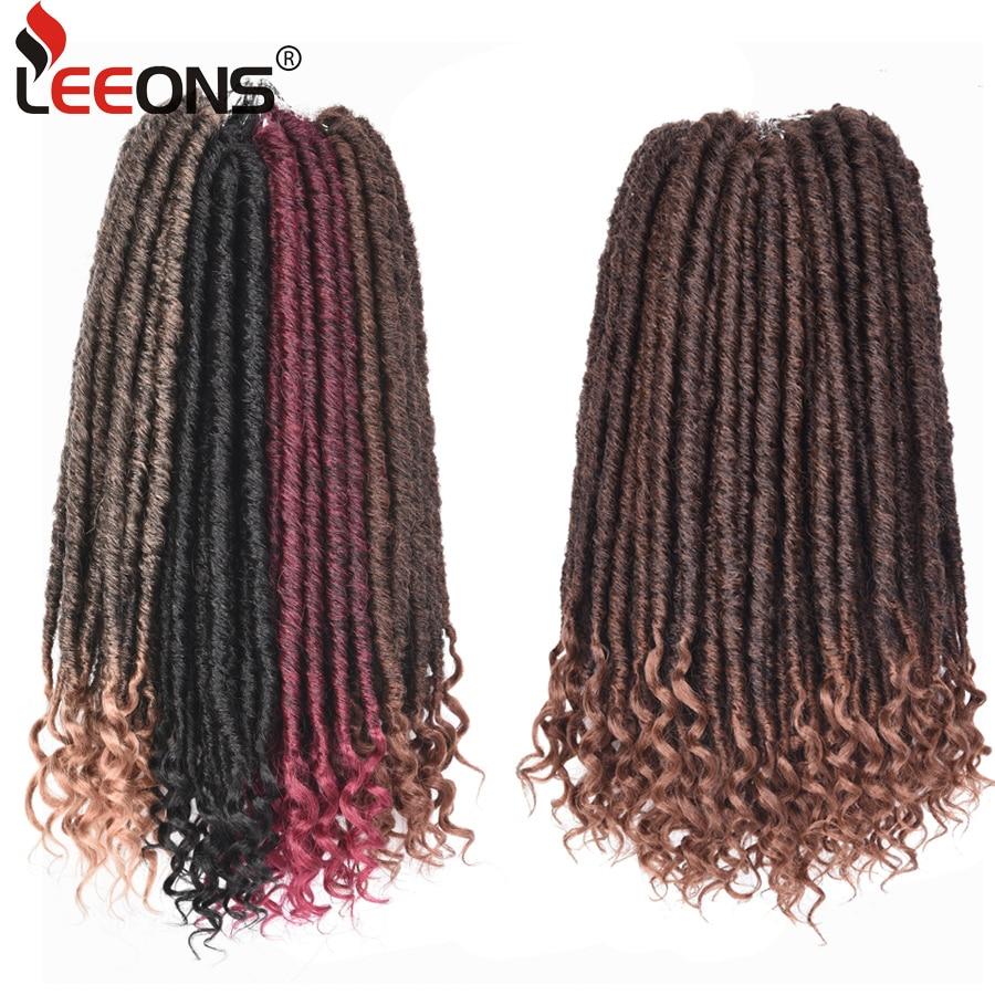 Leeons Ombre Tranças Do Cabelo Vertentes 24 16 Polegada Deusa Falso Dreadlocks Tranças De Crochê Crochê Cabelo Cabelo Sintético Para Pré Looped cabelo