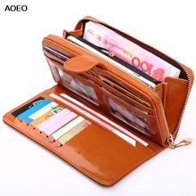 Купить с кэшбэком AOEO women wallets phone money bag Candy color Blue Yellow Red ladies Vintage oil wax leather long zipper clutch purse female