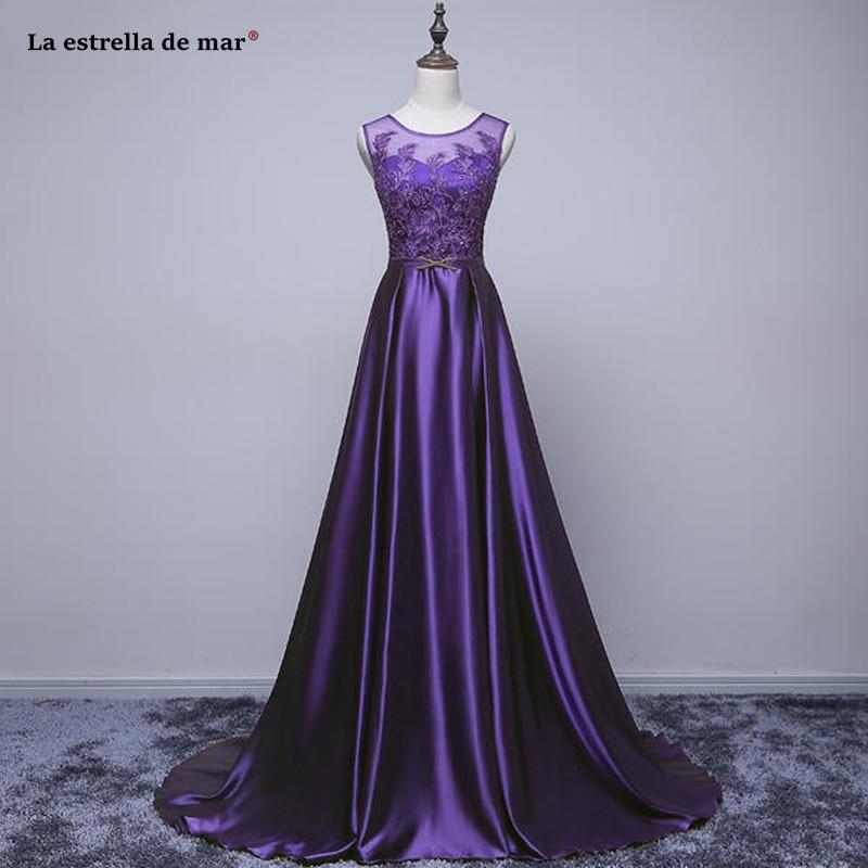 Vestido Madrinha Longo2019 New Scoop Neck Lace Satin A Line Purple Royal Blue Blush Bridesmaid Dresses Long Wedding Party Dress