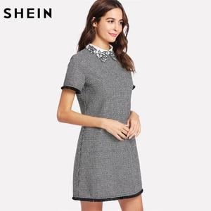 Image 3 - SHEIN Arbeit Kleid Frauen Elegante Schwarz und Weiß Kurzarm Bestickt Kontrast Kragen Fringe Spitze Trim Hahnentritt Kleid