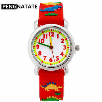 Reloj PENGNATATE para niños, reloj de silicona de dibujos animados en 3D con diseño de dinosaurio, regalo a la moda para niños, reloj de pulsera con correa resistente al agua