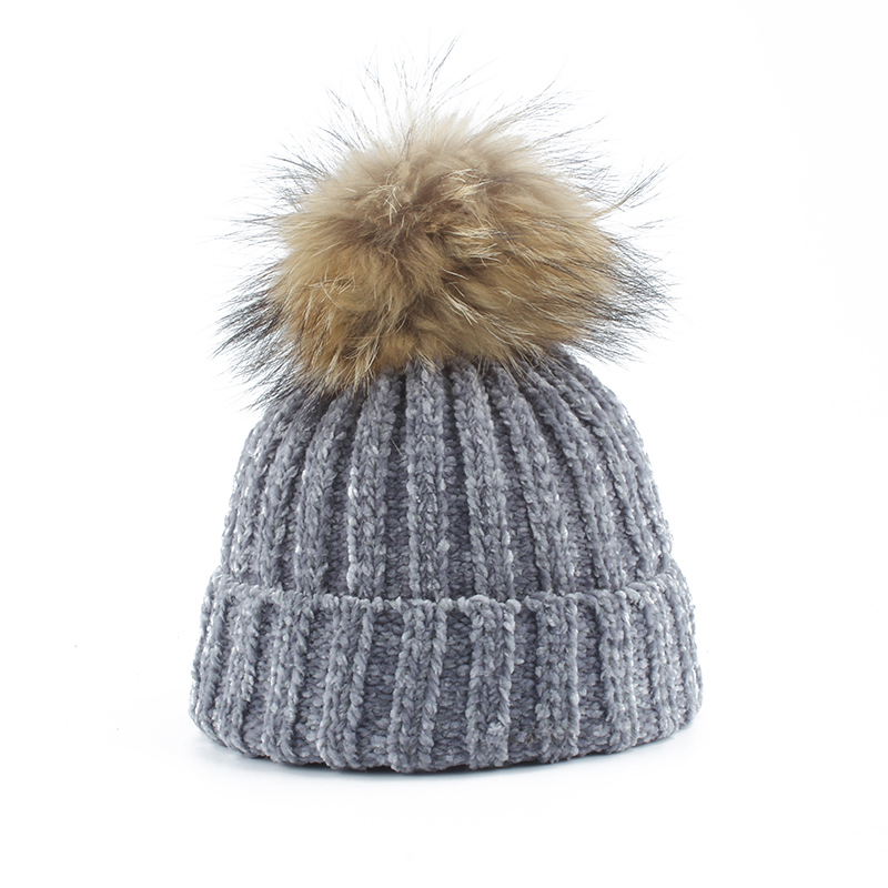 Chenille Knitted Winter Hats For Women Real Mink pompon   Skullies     Beanies   Vintage Casual Pom Pom   Beanie   Cap