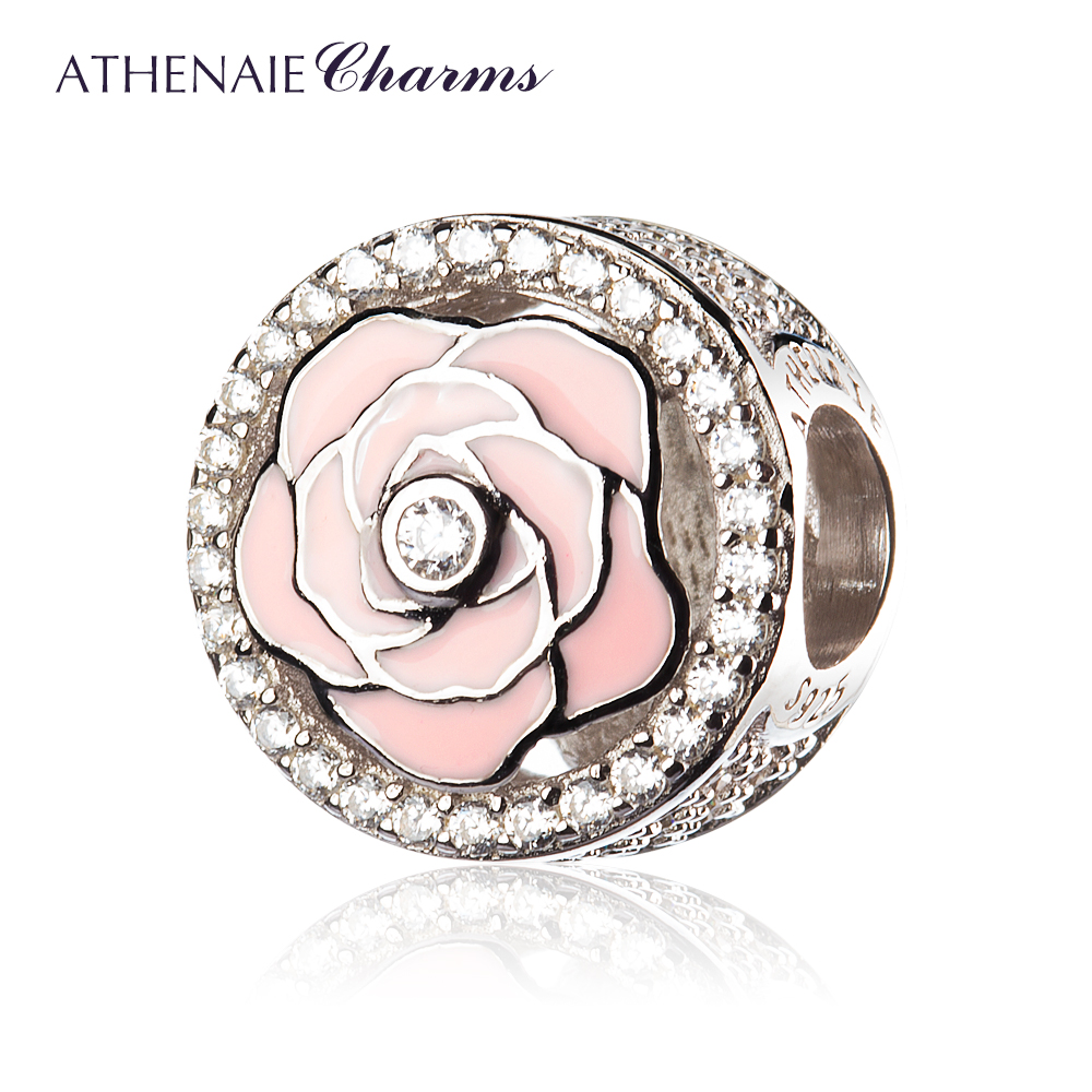 ATHENAIE 925 Sterling Silver Pave Clear CZ Enamel Peony Flowers Bloom Bead Charms Color Light PinkATHENAIE 925 Sterling Silver Pave Clear CZ Enamel Peony Flowers Bloom Bead Charms Color Light Pink
