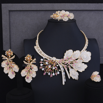 Luxury Nigerian womens necklaces jewelry christmas Gift Big Flower Shape Collar Necklace Earrings Bracelet Ring Jewelry Sets