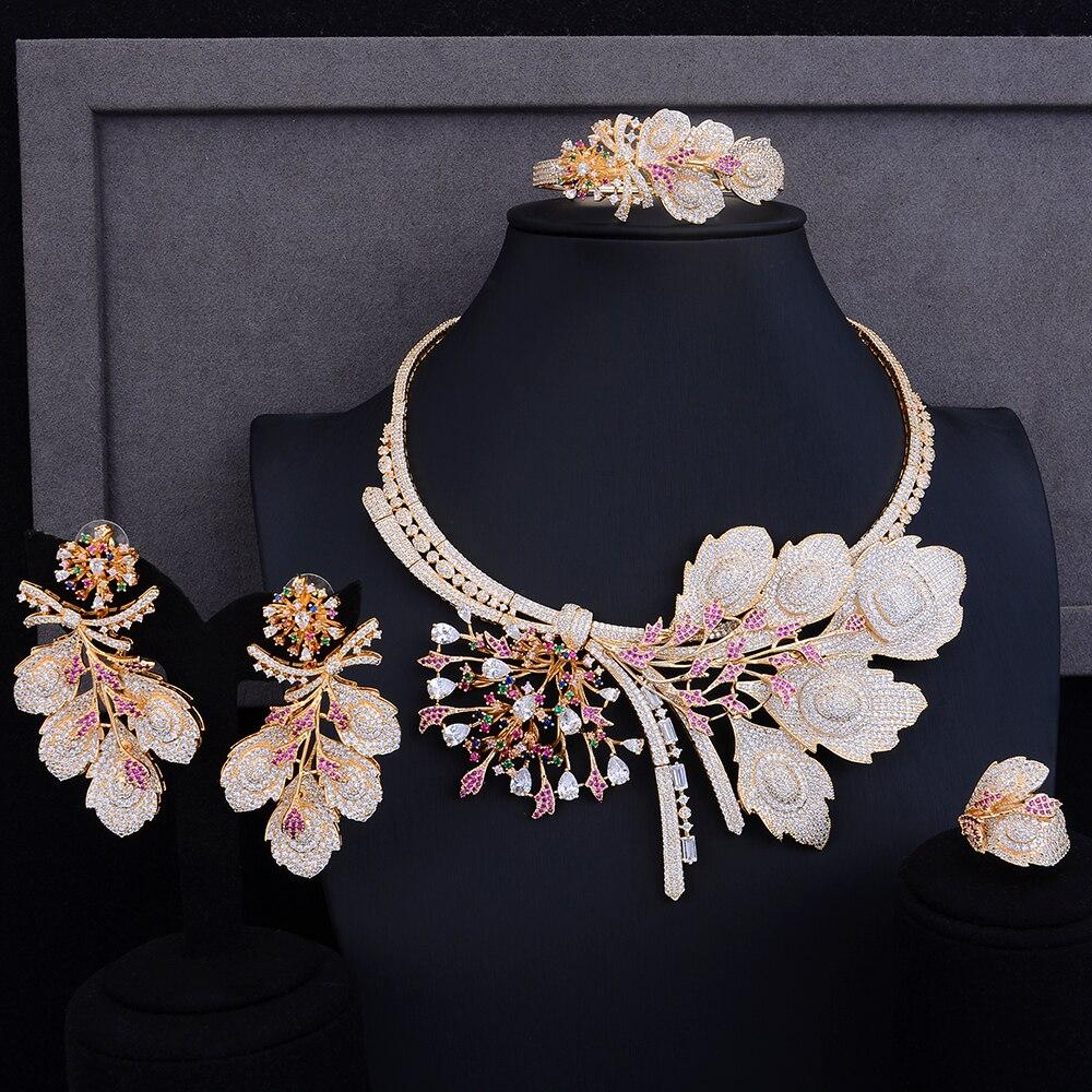 Luxe nigérian femmes colliers bijoux cadeau de noël grande fleur forme collier collier boucles d'oreilles Bracelet anneau bijoux ensembles