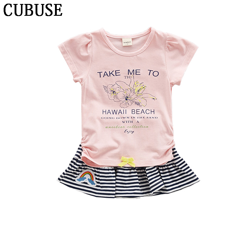 Baby Girls Clothing Sets New Summer Fashion Style Flower Printed T-Shirts+Striped skirt 2Pcs Girls Clothes Sets