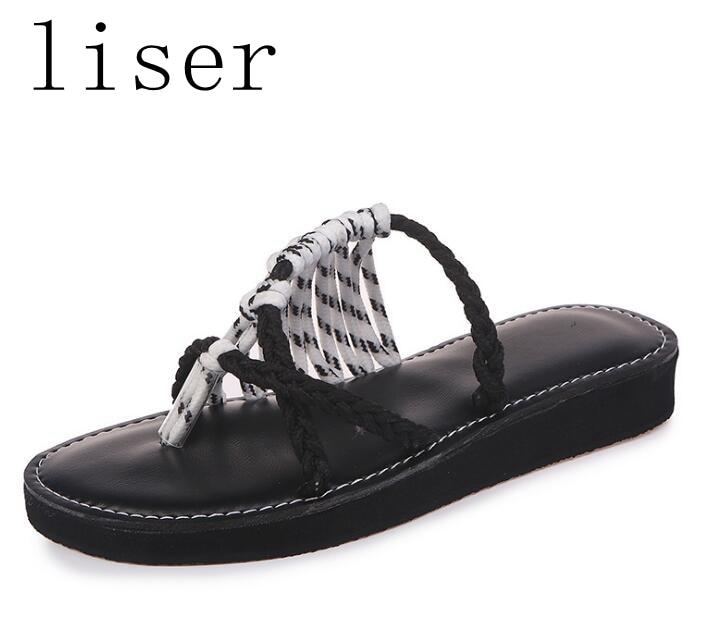 liser Flip Flops Női Szandál Új Nyári Kötél Csomó Cipő Papucs - Női cipő