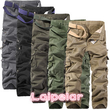 2018 New Men Cargo Pants big pockets decoration mens Casual trousers easy wash autumn army green pants male size 40