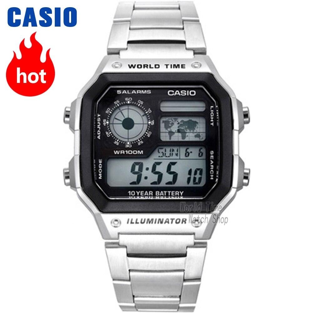 Часы Casio Analogue Мужские кварцевые спортивные часы Случайные старинные квадратные часы AE-1200WHD