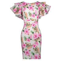 Sisjuly Women S Vintage Dress Cascading Ruffle Sleeve Bodycon Floral Pattern 2017 Summer Color Block Pink