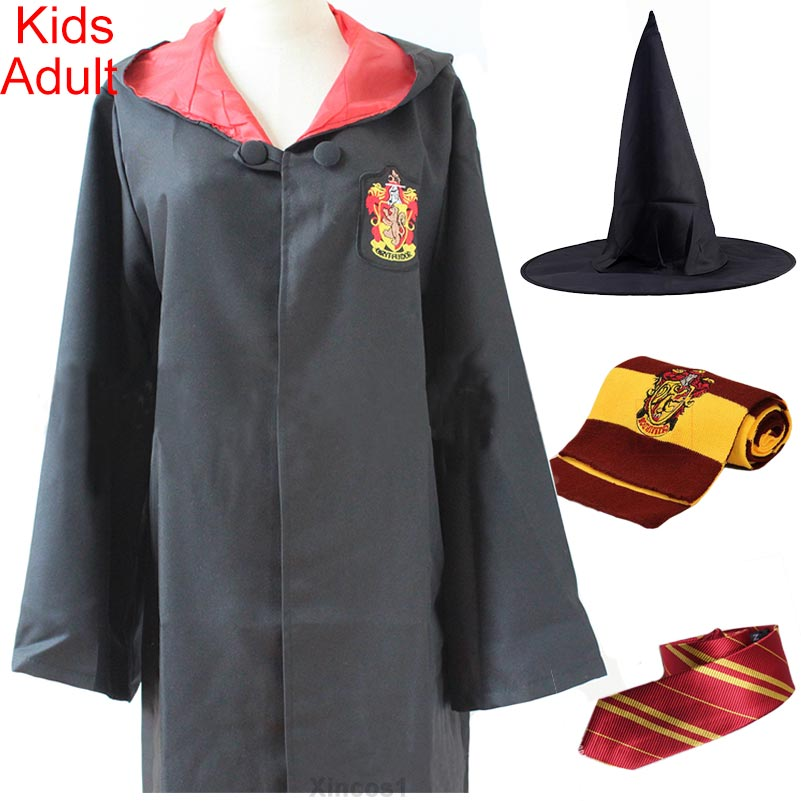 High Quality Costume Ravenclaw Gryffindor Robe Cloak with Tie Scarf Hufflepuff Slytherin Clothes for Harri Potter Cosplay