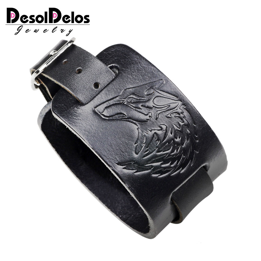 2019 New Genuine Leather Watch Band Bracelet Bangles Adjustable Brown Wide Bracelet for Men Fashion Cuff Wristband Jewelry in Charm Bracelets from Jewelry Accessories