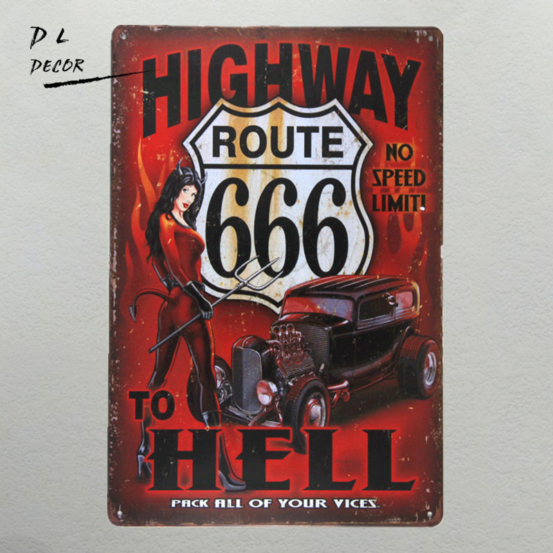 DL-highway to hell Metalen Bord vintage kruisen muursticker Interieur pin-up poster antieke lade huisregels kunst aan de muur garage