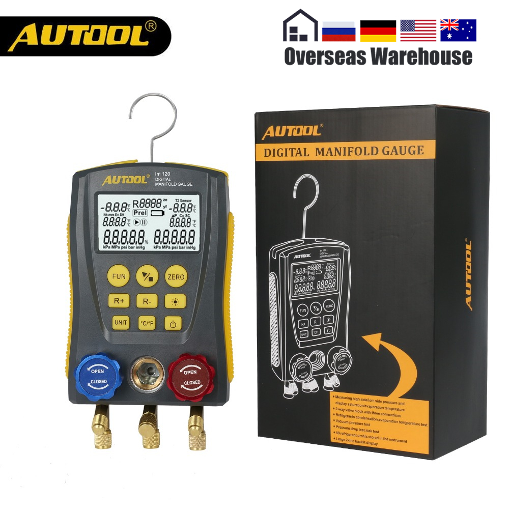 AUTOOL LM120 Refrigerantion Digital Manifold Table HVAC Auto Cold Medium Gauge Pressure Temp Tester Car Air ConditionerAUTOOL LM120 Refrigerantion Digital Manifold Table HVAC Auto Cold Medium Gauge Pressure Temp Tester Car Air Conditioner