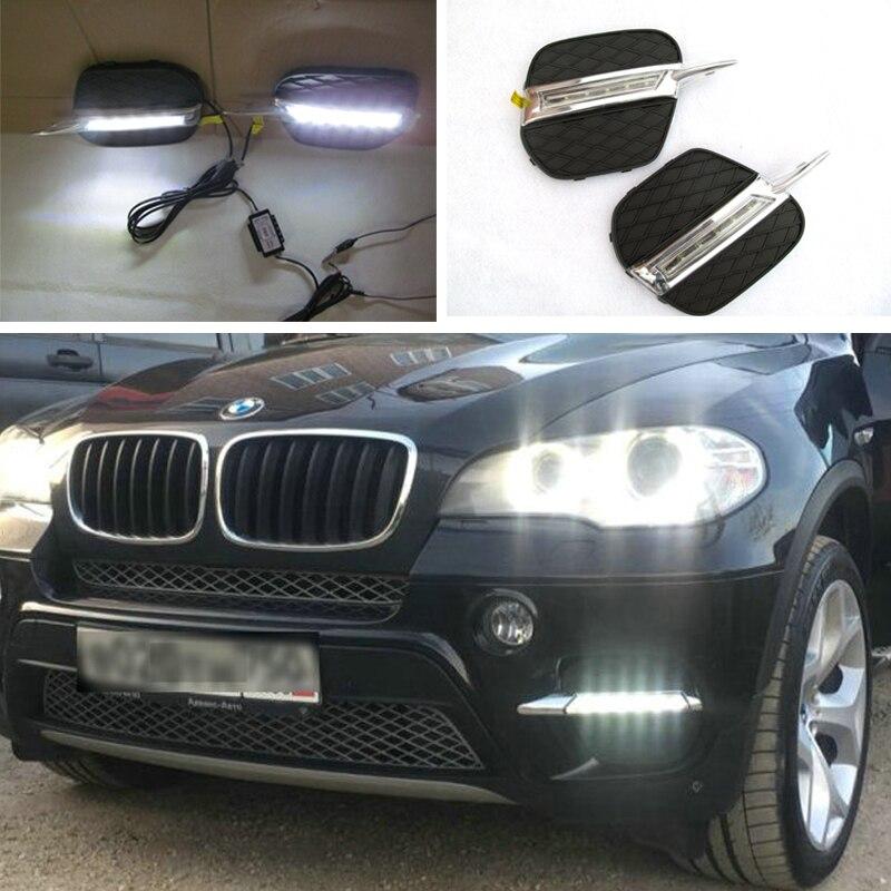 Car Flashing 2PCs set LED DRL Daylight For BMW X5 E70 2011 2012 2013 Daytime Running