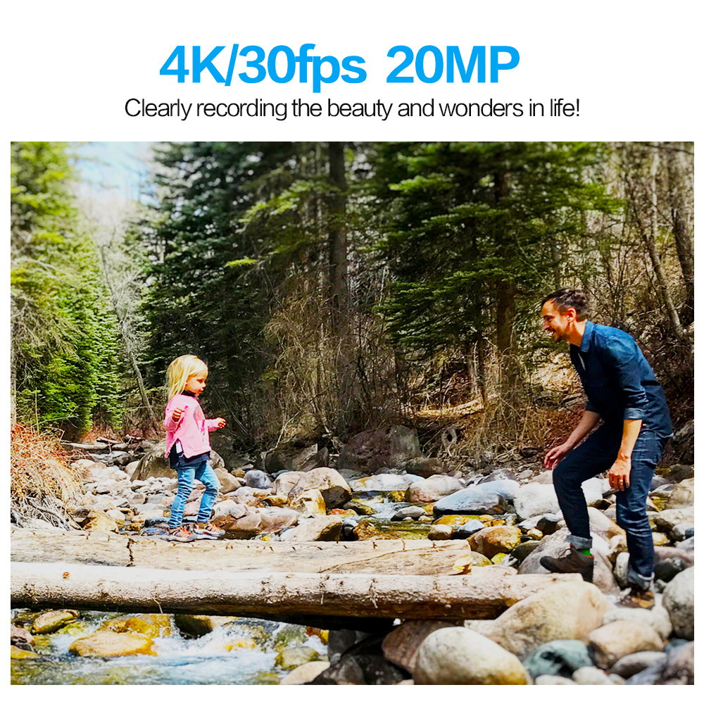 GEEKAM caméra d'action T1 écran tactile Ultra HD 4 K/30fps 20MP WiFi sous marine étanche vélo casque Sports extrêmes vidéo Cam - 3
