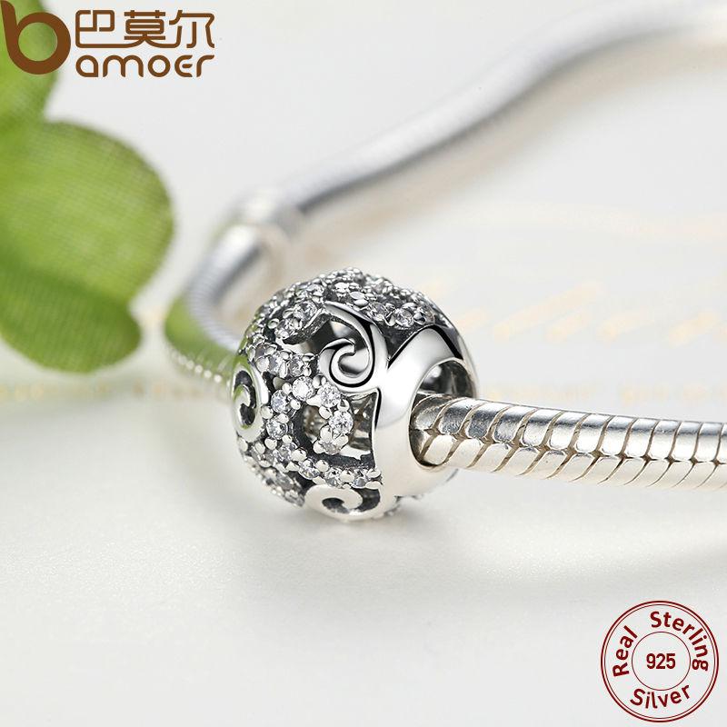 BAMOER Brand Hotsale 925 Sterling Silver Crystal Round Charms Passar - Märkessmycken - Foto 4