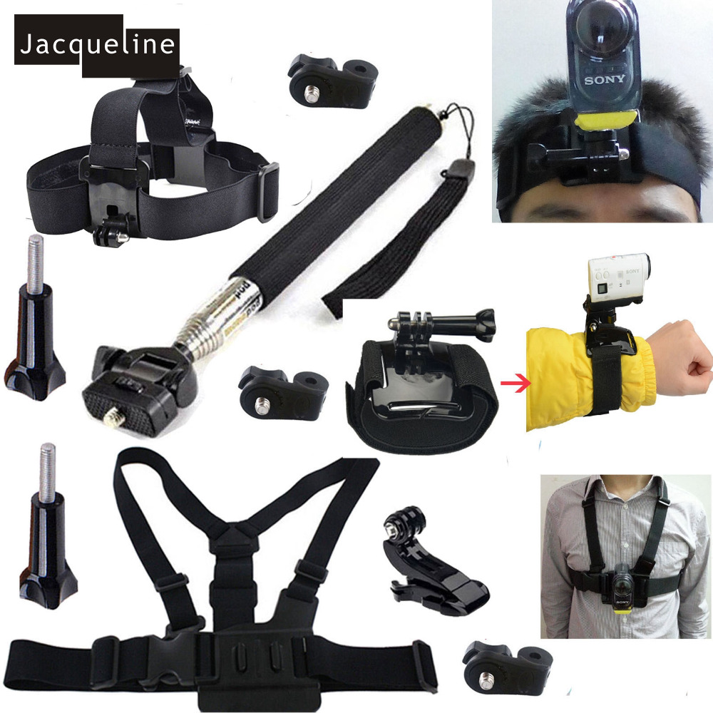 JACQUELINE for Monopod Mount Accessories Head Chest Strap Kit for Sony Action Cam HDR-AS15 AS20 AS30V AS100V AS200V AS50 AZ1 dz chm1 clip head mount kit for sony action camera fdr x1000v hdrr as200v hdr az1vr hdr as100v