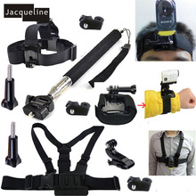 Accessory Monopod Mount Accessories Head Chest Wrist Strap Kit for Sony Action Cam HDR-AS15 AS20 AS30V AS100V headband mount blt hb1 for sony actioncam hdr as200v as100v as20 as30v as15
