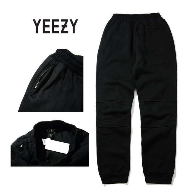 Kanye West YEEZY Брюки Мужчины 1: 1 Высокое Качество 100% Хлопок Тощий Тонкий Брюки Хип-Хоп Бегунов Штаны Молния гарем хип-хоп Брюки
