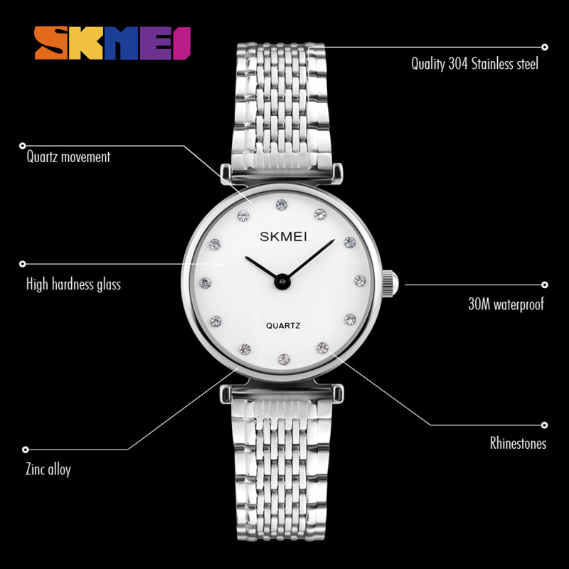 SKMEI New Fashion Women Quartz Klockor Casual Dress Girls Armbandsur - Damklockor - Foto 4