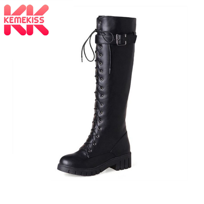 KemeKiss Size 34-43 Women High Heel Boots Riding Motorcycle Cross Strap Thick Heel Boot Knee High Boot Punk Gothic Lace Up Botas