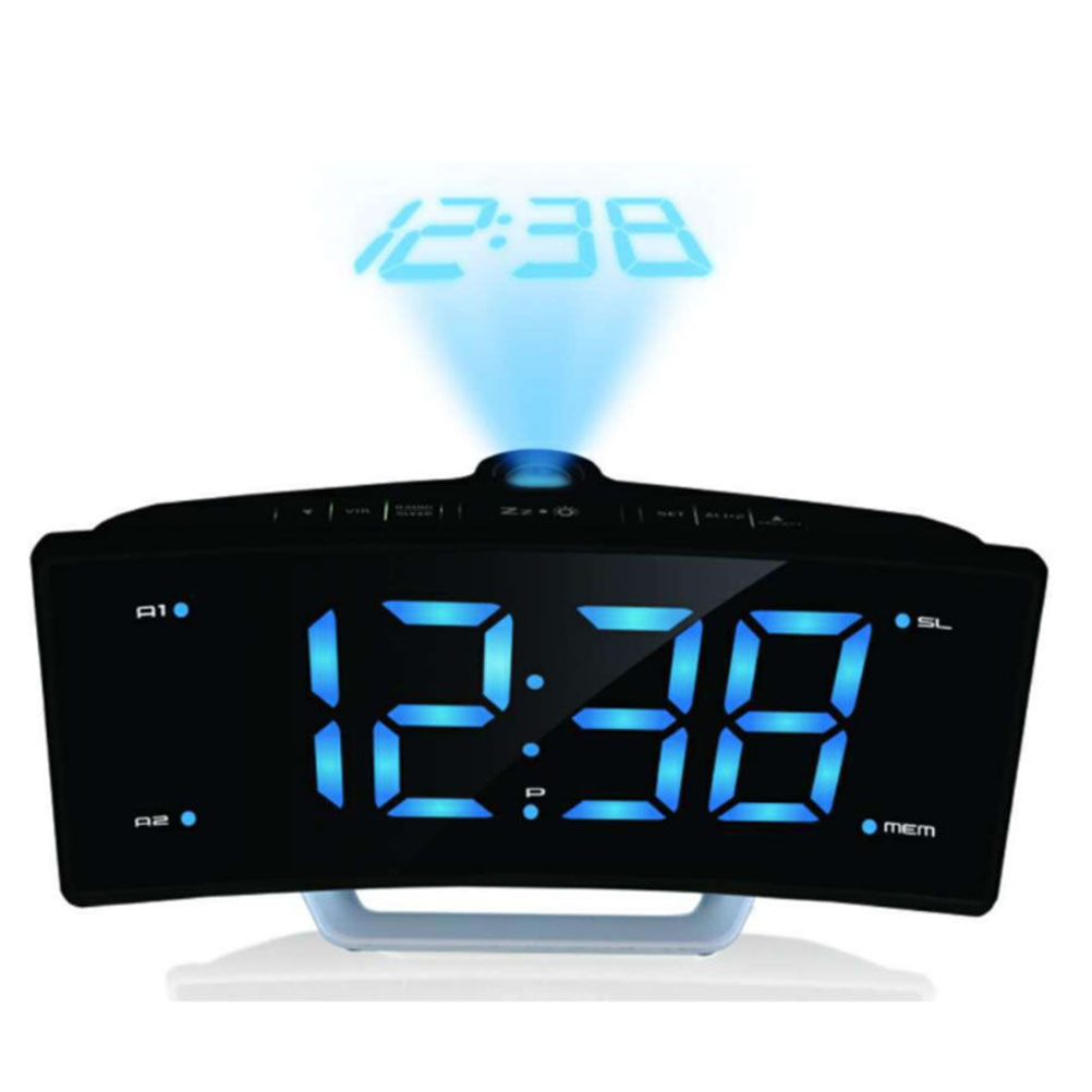 FM Radio Digital Alarm Clock LED Electronic Table Projector Watch USB Charger Port Night Lights Snooze