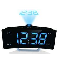 FM Radio Digital Alarm Clock LED Electronic Table Projector Watch USB Charger Port Night Lights Snooze Dual Alarm Sounds EU Plug