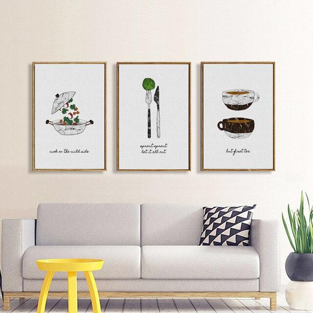 € 8.5 |Uno dijo nórdico moderno vajilla Posters lienzo pintura para comedor  Wall imágenes impresiones decoración del hogar sin marco JY055 en ...