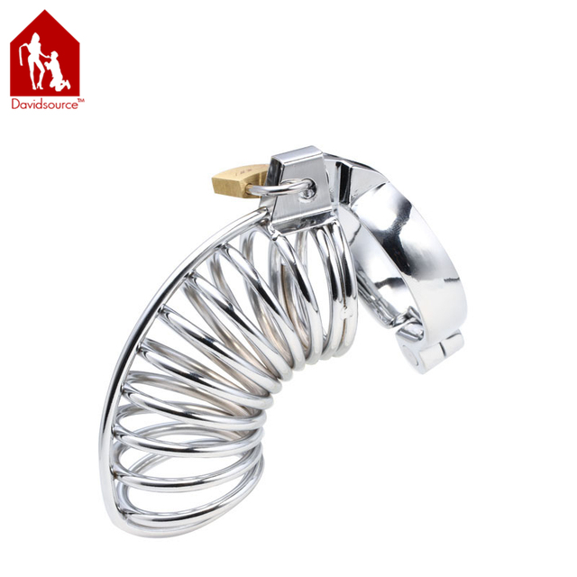 "Davidsource Metal Chastity Device  4.5""Long 1.4""Wide Birdcage Cock Cage Virginity Lock Penis Torture Kit Fetish Men Sex Toy"