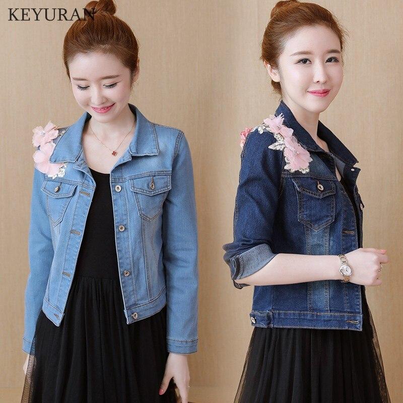 3D Flower Embroidery Women Jeans Coat Autumn 2017 New Arrival Slim Denim Jacket Washed Short Blue Basic Jackets Coat Outwear